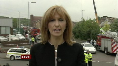 Jackie Bird at the scene of Maryhill explosion in 2004