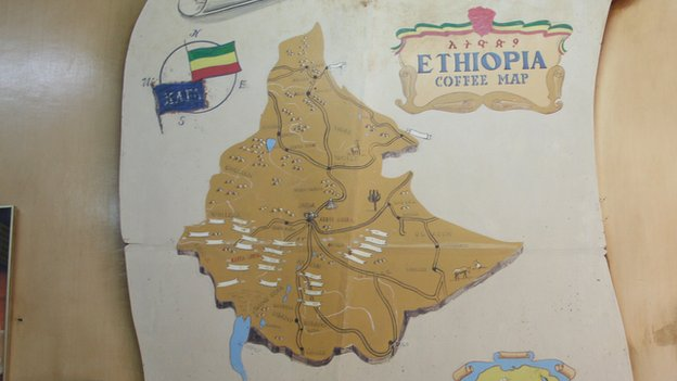 A map of Ethiopia on the wall at Tomoca's oldest coffee house