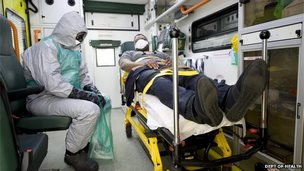 Ebola trial - actor posed as patient in an ambulance being transferred to hospital