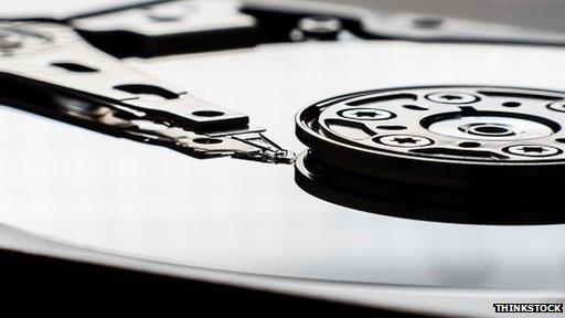 Close-up of hard drive