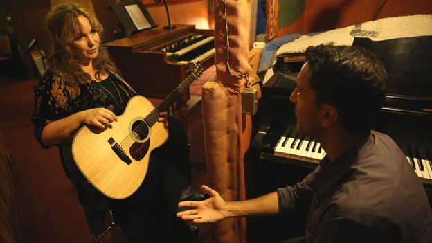 Gretchen Peters in the recording studio