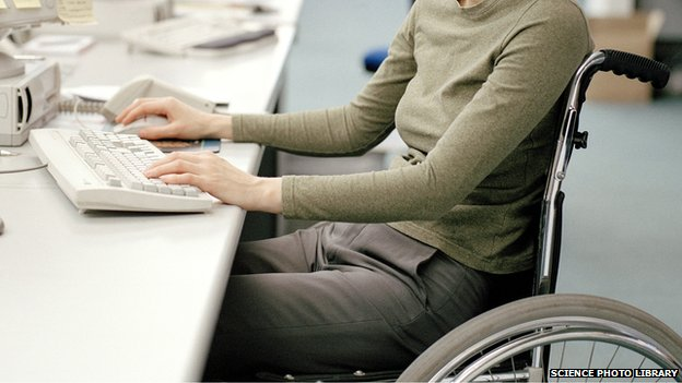 Disabled woman in an office
