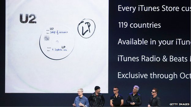 U2 and Apple chief executive Tim Cook