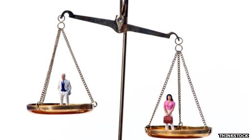 Scales with a man and women on
