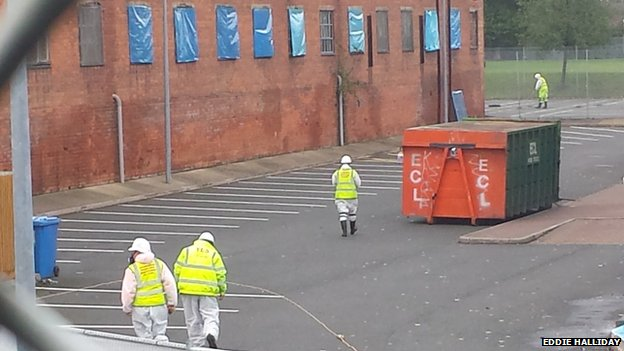 Clean-up crews at Yardleys School