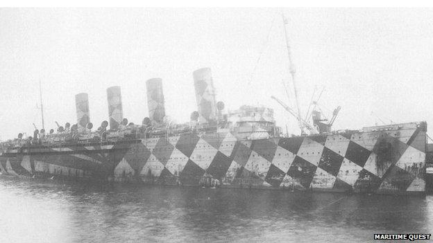 RMS Mauretania in dazzle camouflage