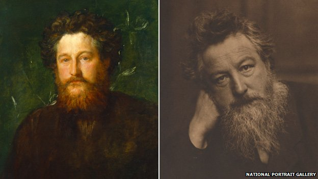 William Morris painted by GF Watss in 1870 (left) and Frederick Hollyer in 1884