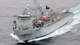 The RFA Argus, a navy ship