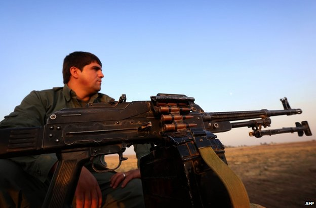 A Kurdish peshmerga fighter near Irbil, northern Iraq, 6 October