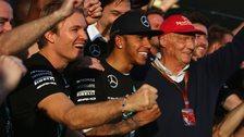 Nico Rosberg, Lewis Hamilton and Niki Lauder celebrate Mercedes Constructors championship win