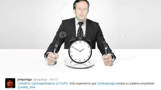 "Jorge ""Tuto"" Quiroga about to eat a clock"