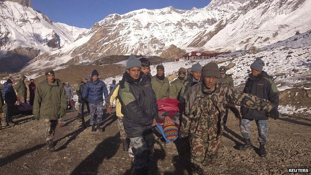 Nepalese soldiers carry man rescued from avalanche at Thorang-La in Annapurna Region. 15 Oct 2014