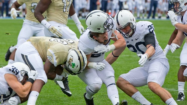 Penn State in action against University of Central Florida at the American football college season opener at Croke Park in August