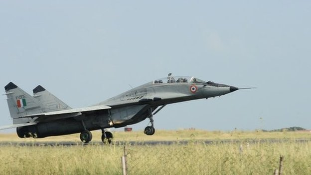 An Indian Air Force (IAF) MIG-29 jet takes off during a routine flying sortie at the IAF Air Base at Jamnagar some 350 kms from Ahmedabad on September 23, 2014.