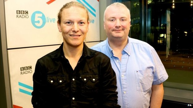 Photo issued by BBC Radio 5 Live of Stephen Nolan (right) and Simon Hirst (left) who has revealed that he is changing gender in order to live life as a woman