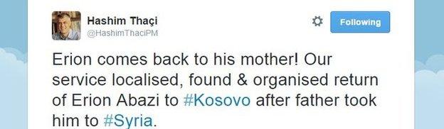 Hashim Thaci's tweet