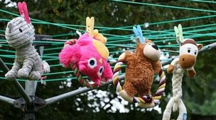 Toys on a washing line