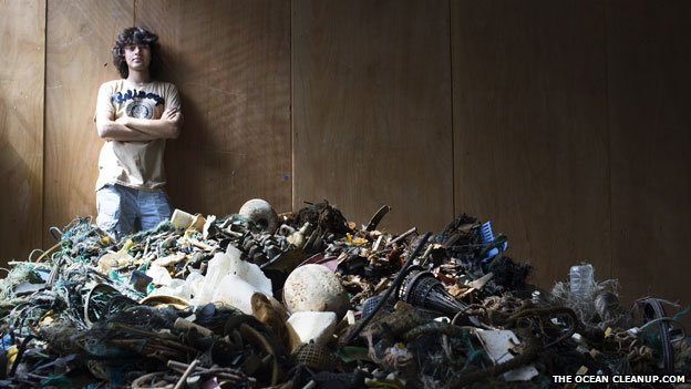Boyan Slat with some of the ocean plastic his team have collected