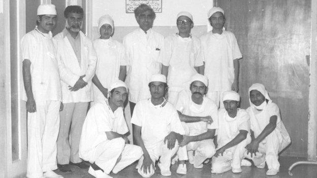 Dr Adib Rizvi (centre) and his staff in the 1970s