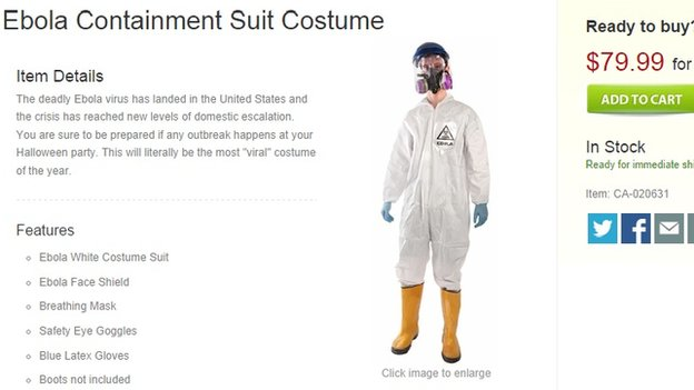 "A website selling an ""Ebola containment suit costume"" for $79.99"