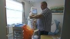 Kidney patient John Slater treats himself at home