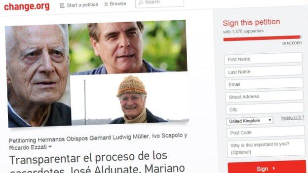 A screenshot of an online petition