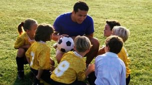 Primary school soccer lesson