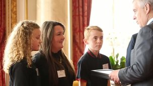 Kaitlyn, Lauren and Joe pick up TeenTech award from the Duke of York