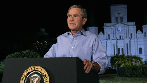 President George Bush speaks about post-Hurricane Katrina disaster response in New Orleans.