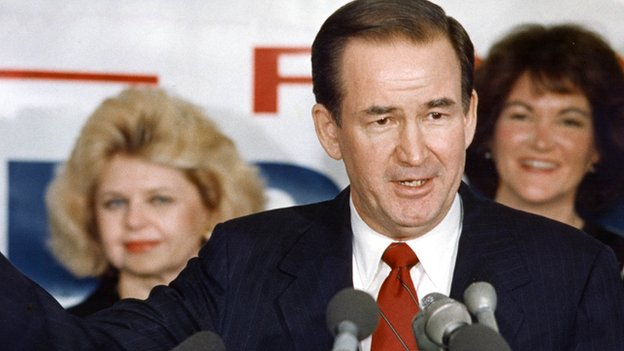 Patrick Buchanan speaks at a campaign event in 1991