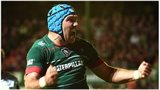 Leicester's Graham Kitchener celebrates after scoring against Ulster