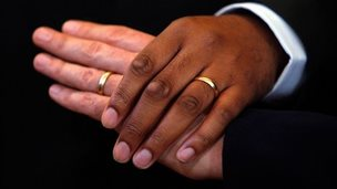 Ringed male hands