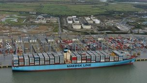 Container ship Edith Maersk at London Gateway