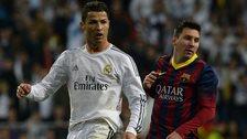 Real Madrid's Cristiano Ronaldo (left) and Barcelona's Lionel Messi