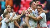 Sam Burgess celebrates scoring a try for England in the Rugby League World Cup semi-final against New Zealand