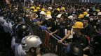 Police and protesters standoff against each other as tensions continue in Mong Kok, Hong Kong, 20 October 2014