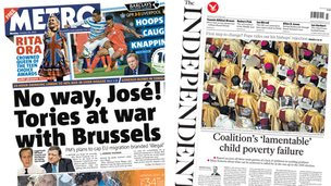 Metro/Independent front pages