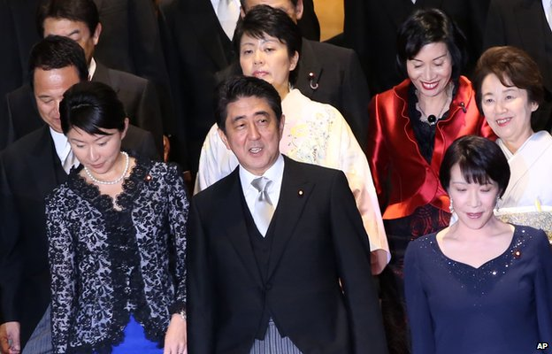 Shinzo Abe with his new female cabinet ministers  3 September 2014
