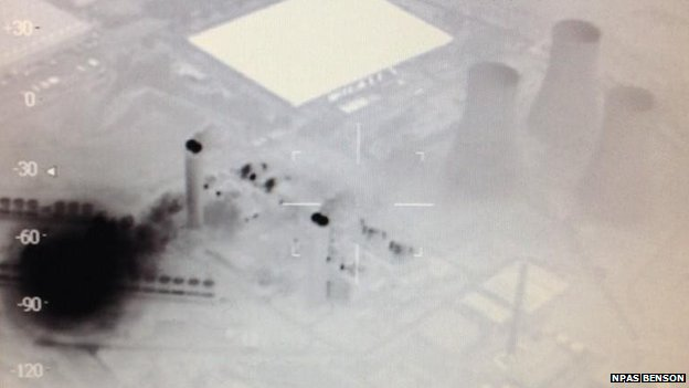 Thermal image of Didcot power station fire