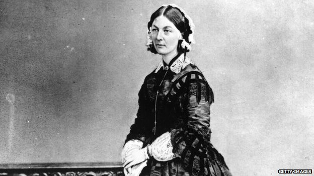 Florence Nightingale, who was brought up in Derbyshire, circa 1858