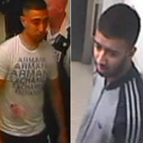 Two CCTV images of men police want to speak to