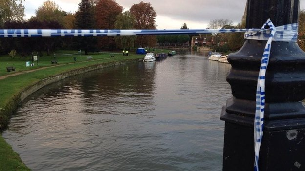 Police cordon by river in Abingdon