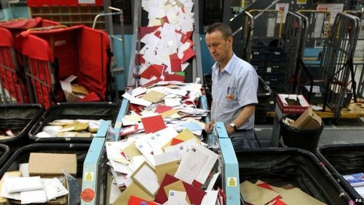 Royal Mail staff at the St. Rollox sorting office in Glasgow,