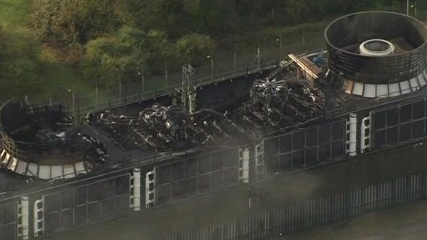 Aerial shot of aftermath of fire at Didcot B power station