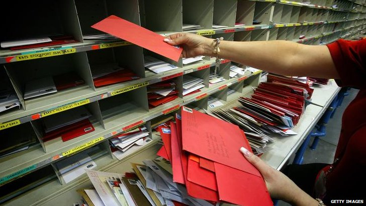 Christmas cards being sorted in Royal Mail office