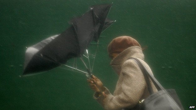 Woman struggles with umbrella
