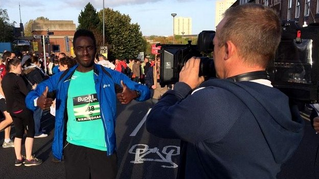 Andy Akinwolere running Great Birmingham Run