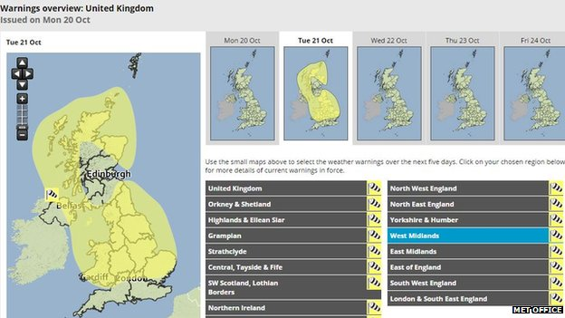 Met Office yellow weather warning