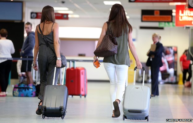 Passengers at Cardiff Airport