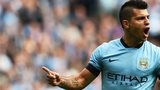 Manchester City striker Sergio Aguero celebrates after scoring